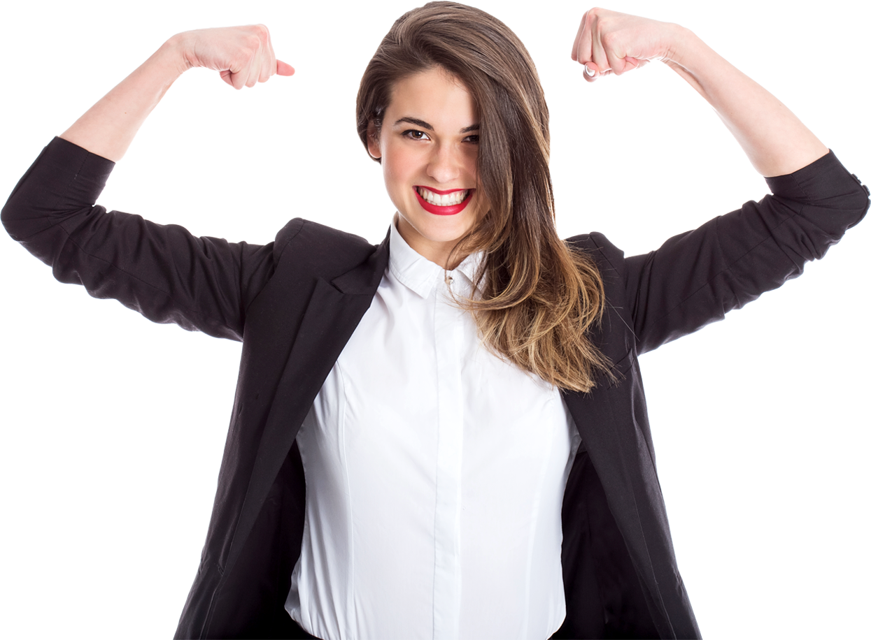 A woman in business attire, flexing her muscles.