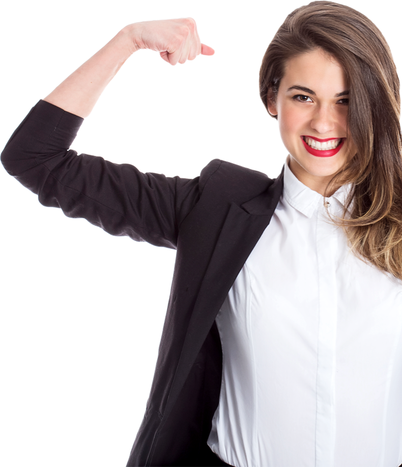 A young woman in a suit, flexing her muscles.